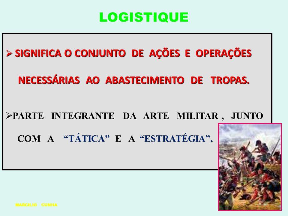 LOGISTIQUE SIGNIFICA O CONJUNTO DE AÇÕES E OPERAÇÕES NECESSÁRIAS AO ABASTECIMENTO DE TROPAS.
