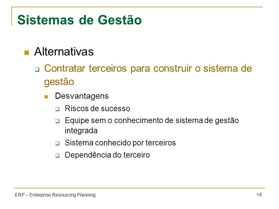 Sistemas de Gestão Alternativas
