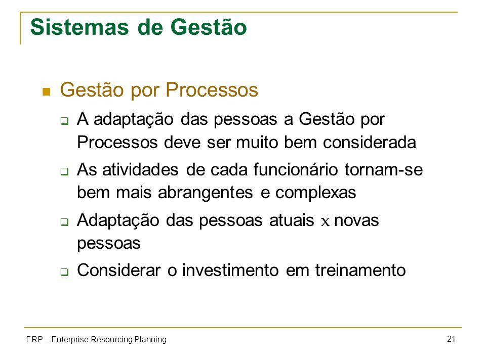 Sistemas de Gestão Gestão por Processos