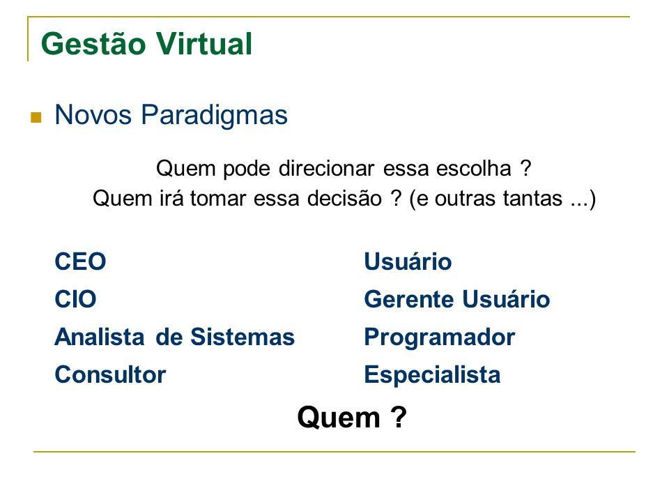 Gestão Virtual Novos Paradigmas CEO Usuário CIO Gerente Usuário
