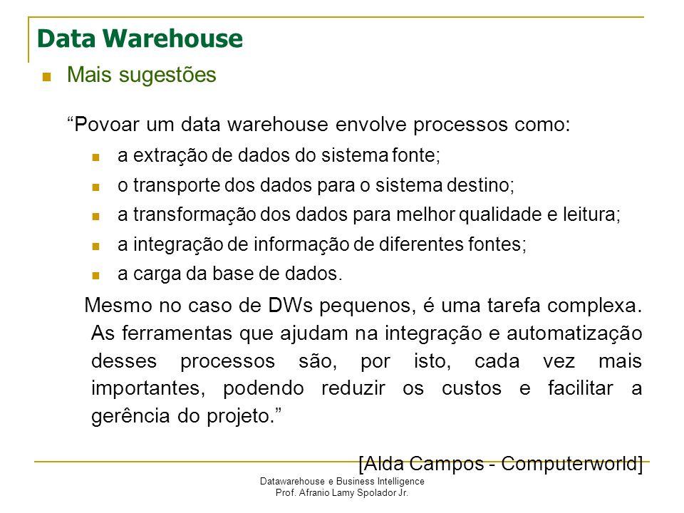 Data Warehouse Mais sugestões