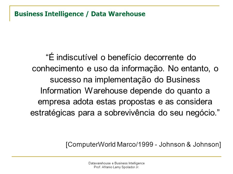 Business Intelligence / Data Warehouse