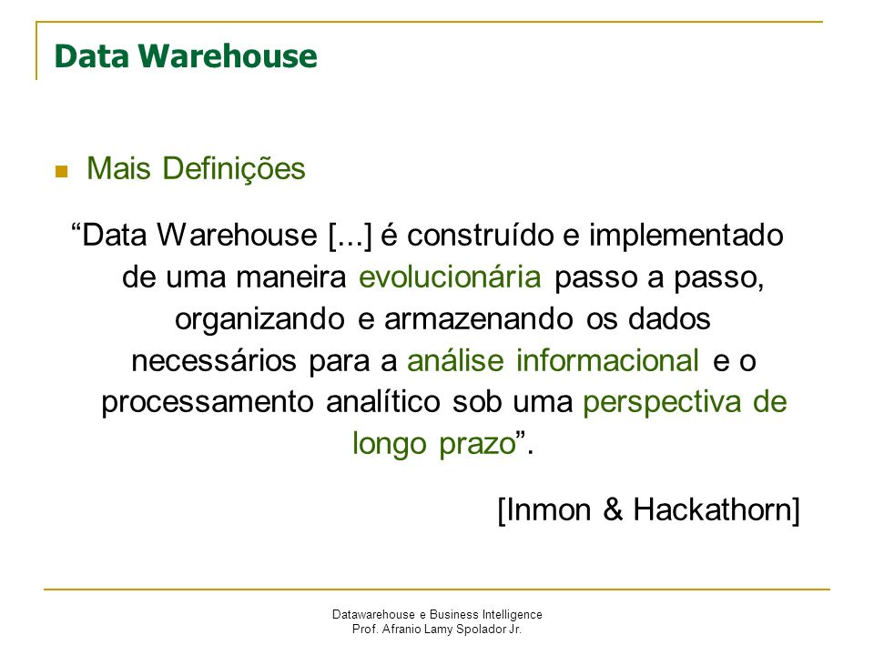 Data Warehouse Mais Definições