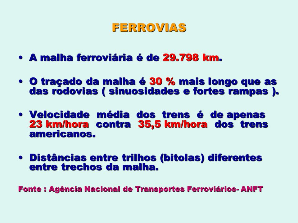 FERROVIAS A malha ferroviária é de 29.798 km.