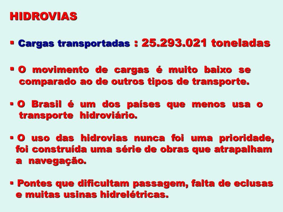 Cargas transportadas : 25.293.021 toneladas