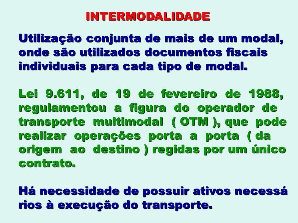 INTERMODALIDADE Utilização conjunta de mais de um modal, onde são utilizados documentos fiscais. individuais para cada tipo de modal.