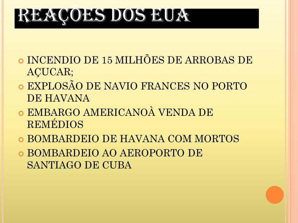 REAÇÕES DOS EUA INCENDIO DE 15 MILHÕES DE ARROBAS DE AÇUCAR;