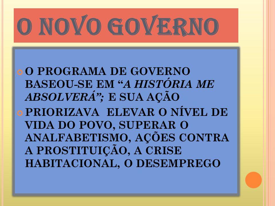 O NOVO GOVERNO O PROGRAMA DE GOVERNO BASEOU-SE EM A HISTÓRIA ME ABSOLVERÁ ; E SUA AÇÃO.
