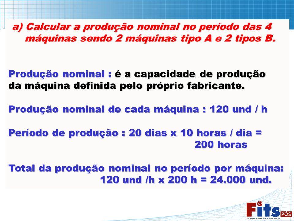 a) Calcular a produção nominal no período das 4