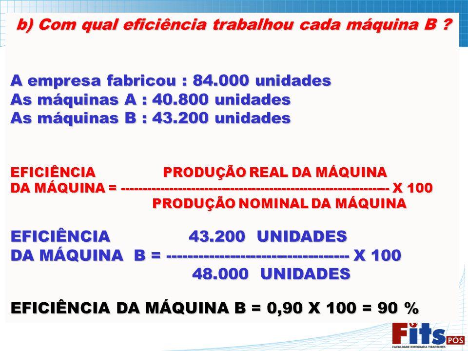 b) Com qual eficiência trabalhou cada máquina B