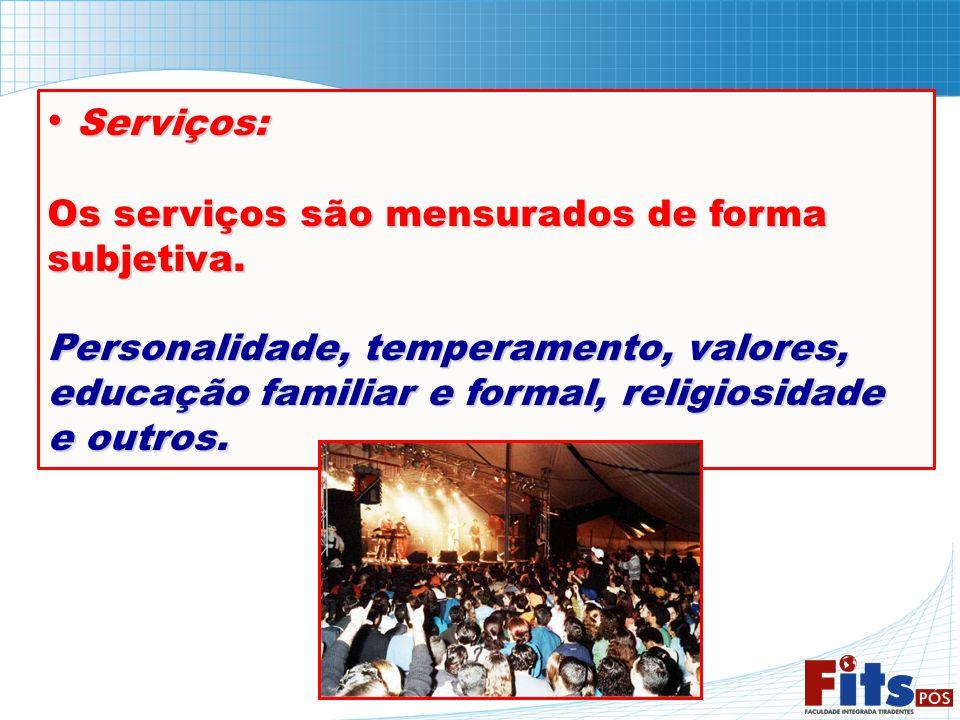 Serviços: Os serviços são mensurados de forma subjetiva.