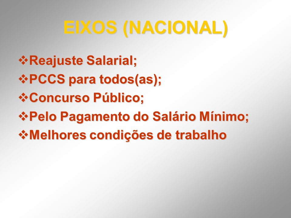 EIXOS (NACIONAL) Reajuste Salarial; PCCS para todos(as);