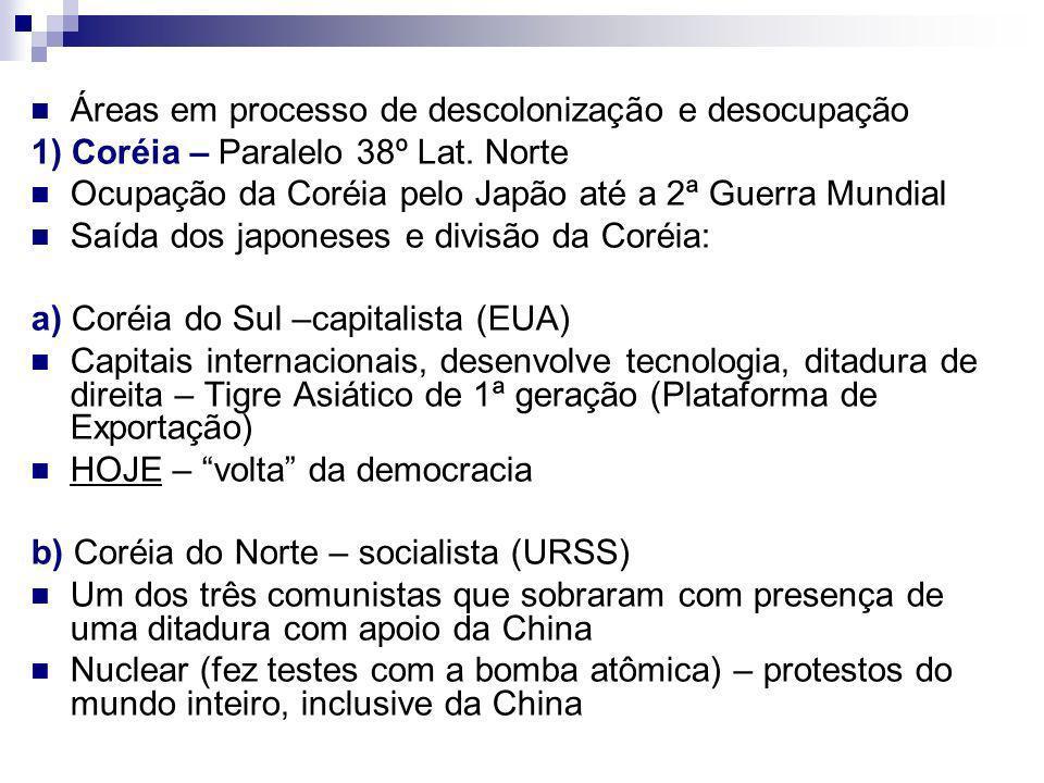 Áreas em processo de descolonização e desocupação