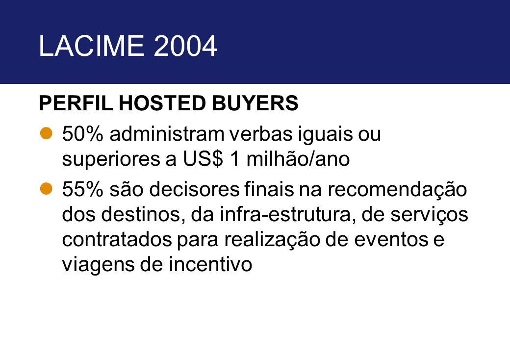 LACIME 2004 PERFIL HOSTED BUYERS
