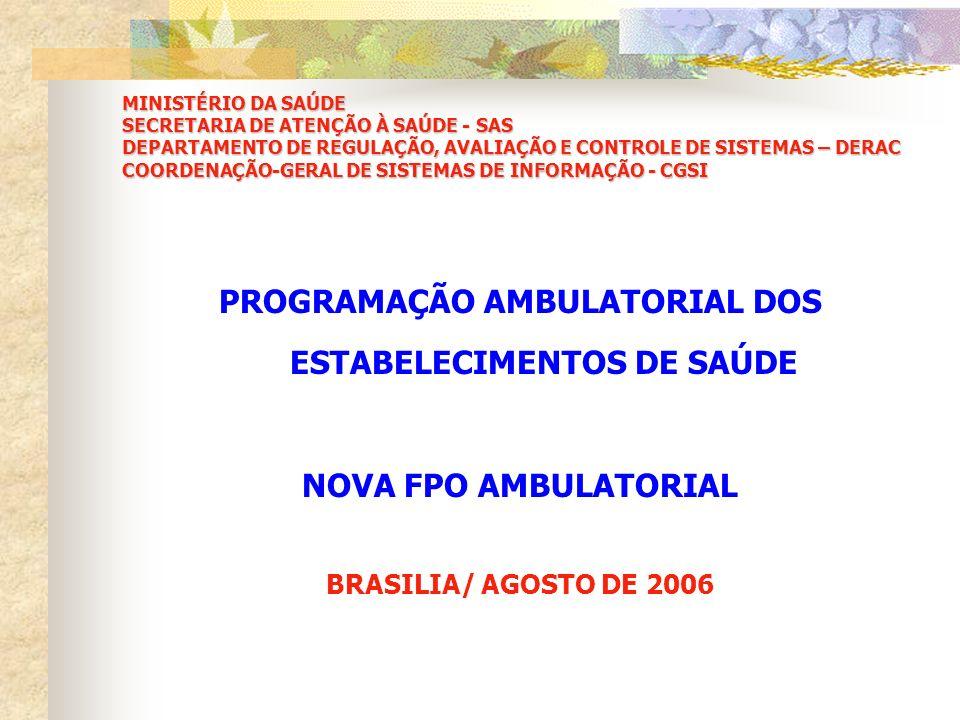 PROGRAMAÇÃO AMBULATORIAL DOS ESTABELECIMENTOS DE SAÚDE