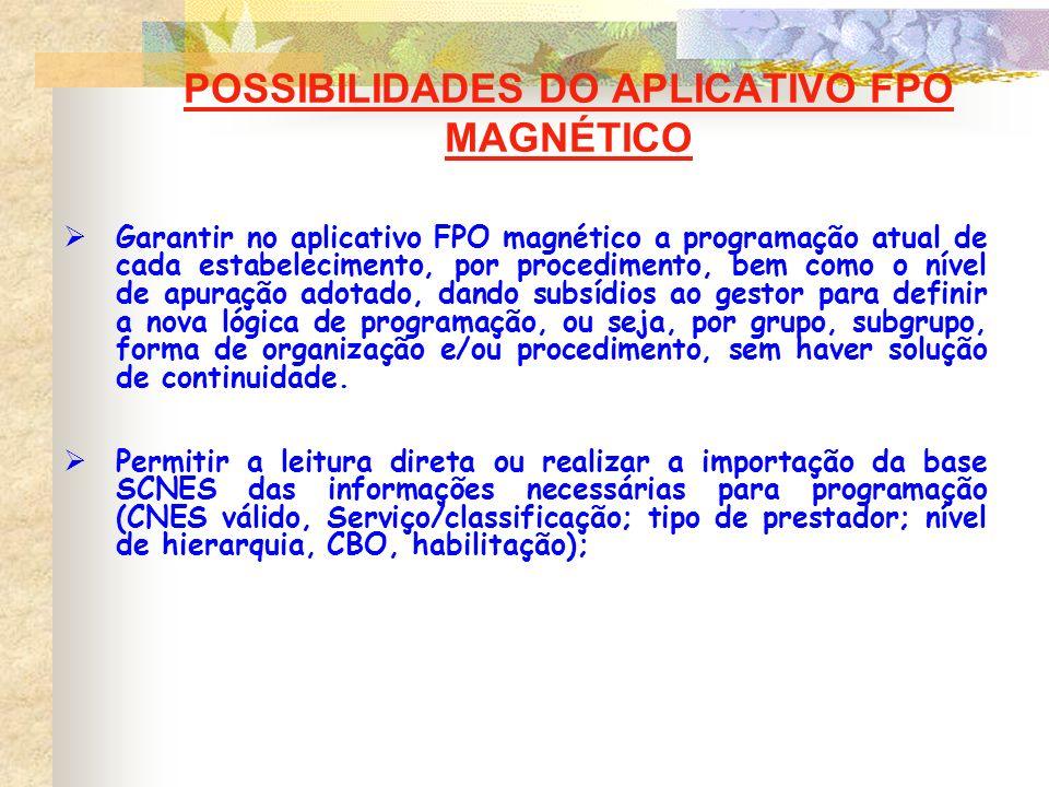 POSSIBILIDADES DO APLICATIVO FPO MAGNÉTICO