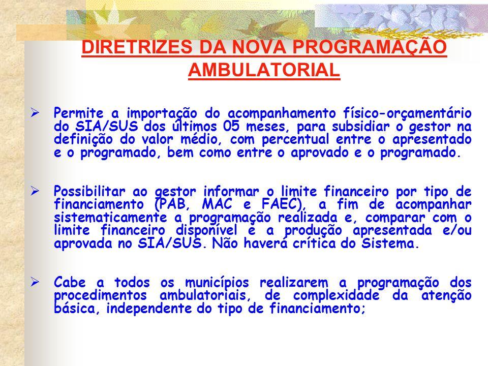 DIRETRIZES DA NOVA PROGRAMAÇÃO AMBULATORIAL