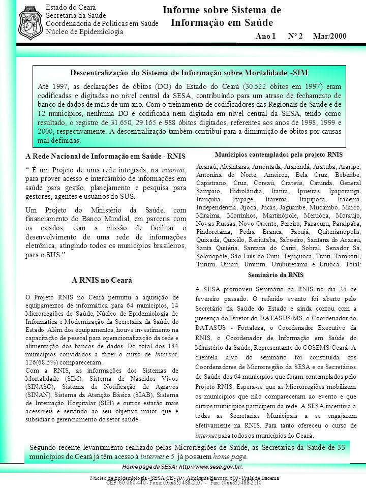Informe sobre Sistema de Informação em Saúde