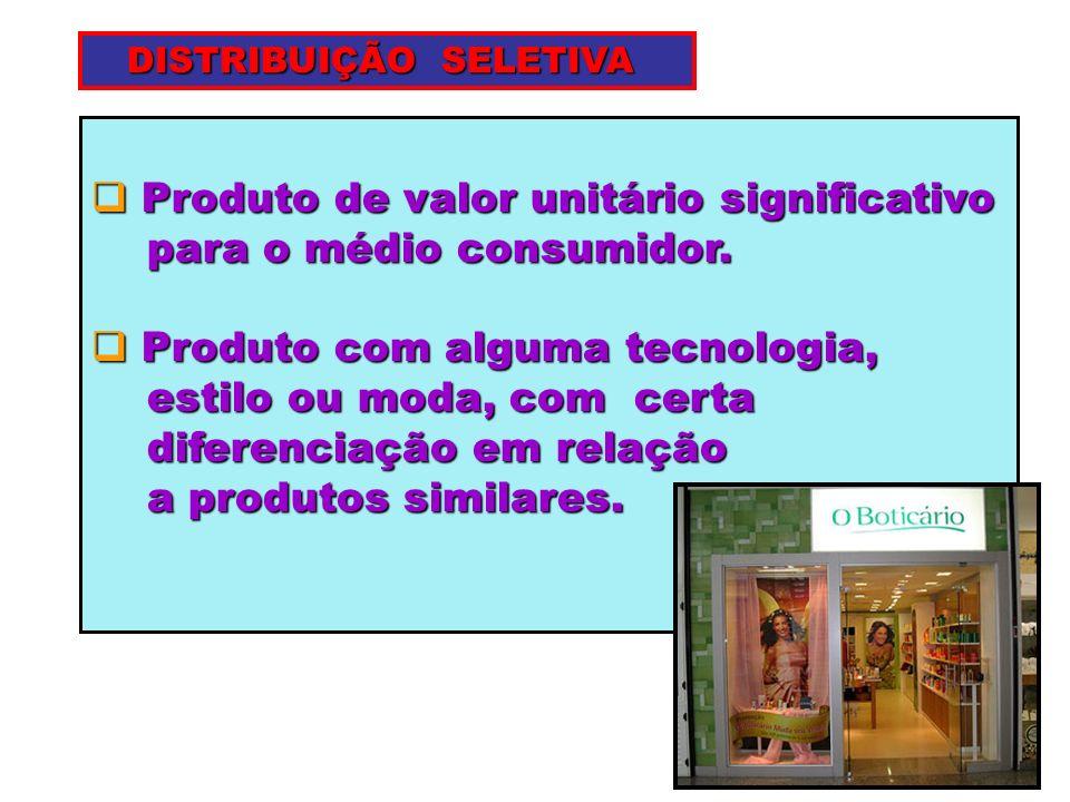 Produto de valor unitário significativo para o médio consumidor.