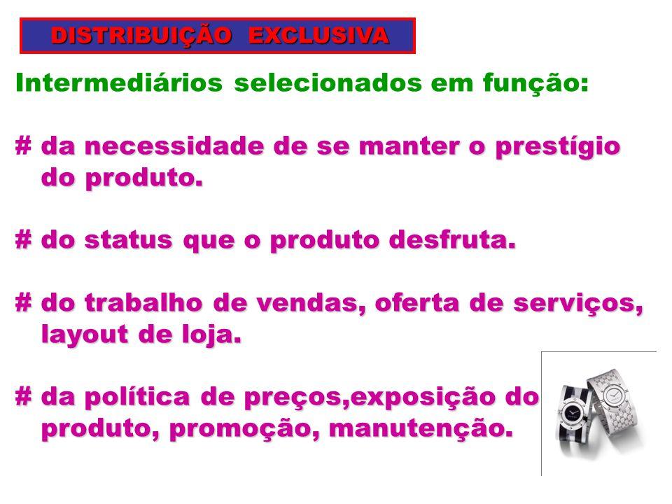 Intermediários selecionados em função: