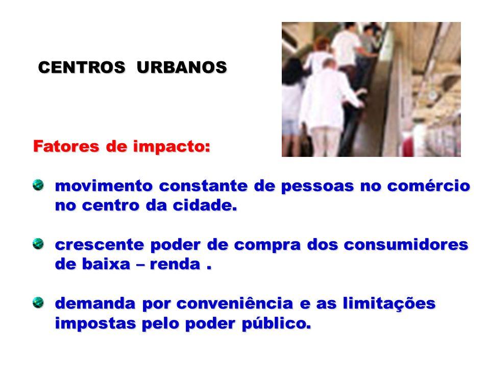 CENTROS URBANOSFatores de impacto: movimento constante de pessoas no comércio. no centro da cidade.