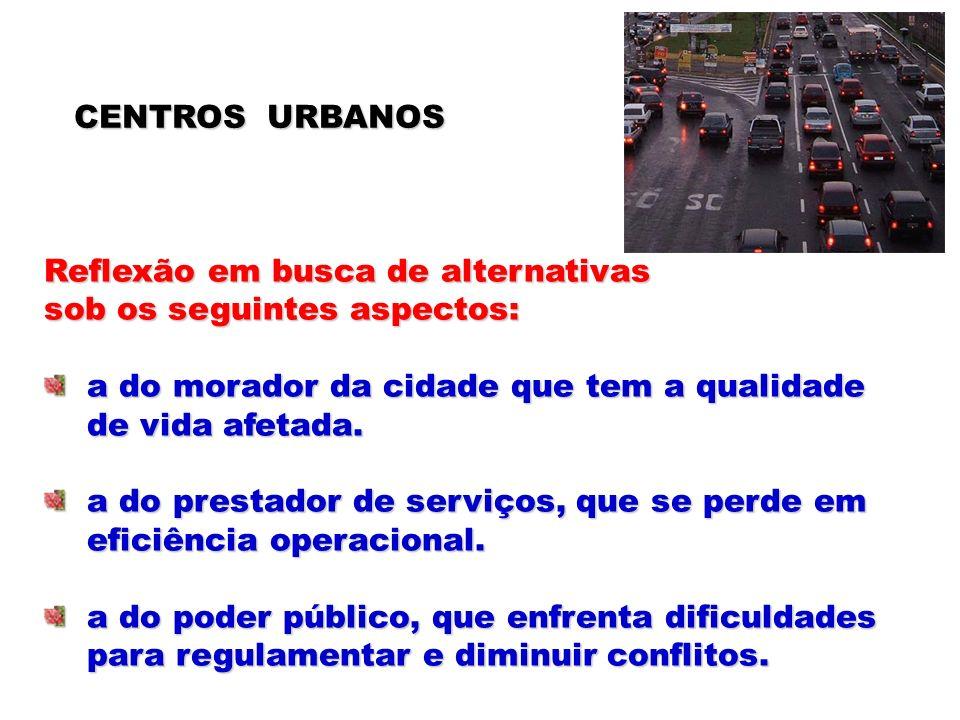 CENTROS URBANOS Reflexão em busca de alternativas. sob os seguintes aspectos: a do morador da cidade que tem a qualidade.