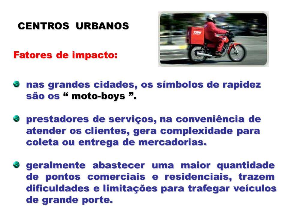 CENTROS URBANOS Fatores de impacto: nas grandes cidades, os símbolos de rapidez. são os moto-boys .