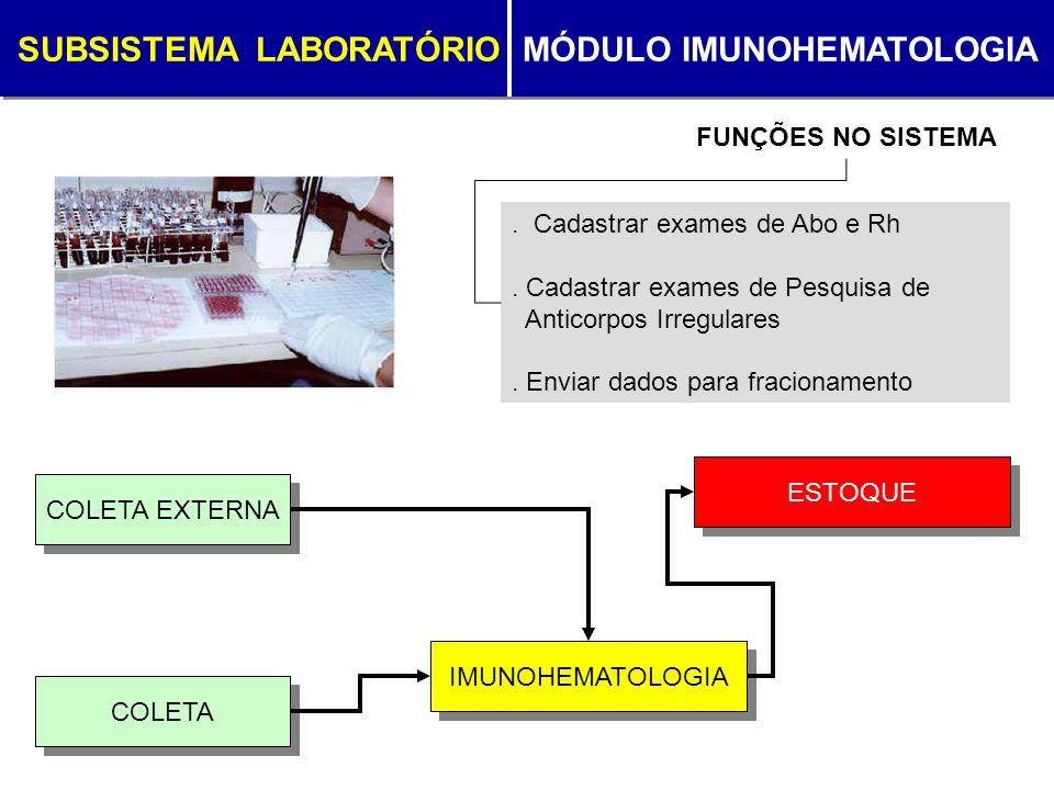 SUBSISTEMA LABORATÓRIO MÓDULO IMUNOHEMATOLOGIA