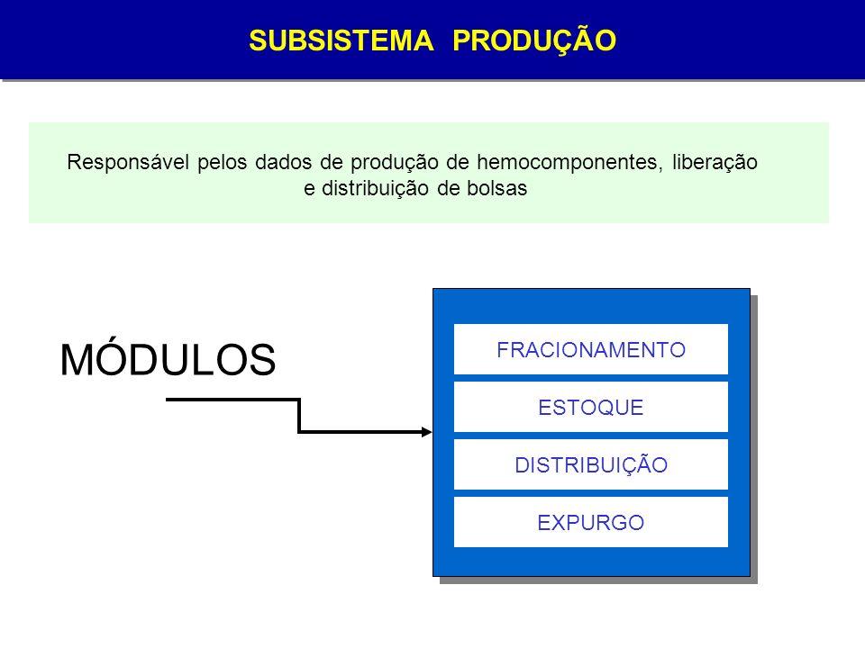 MÓDULOS SUBSISTEMA PRODUÇÃO SUBSISTEMA PRODUÇÃO