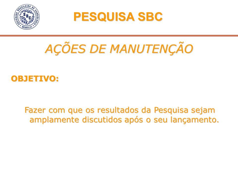 PESQUISA SBC AÇÕES DE MANUTENÇÃO OBJETIVO: