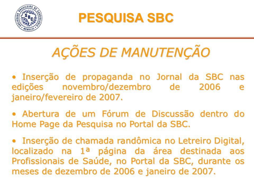 PESQUISA SBC AÇÕES DE MANUTENÇÃO