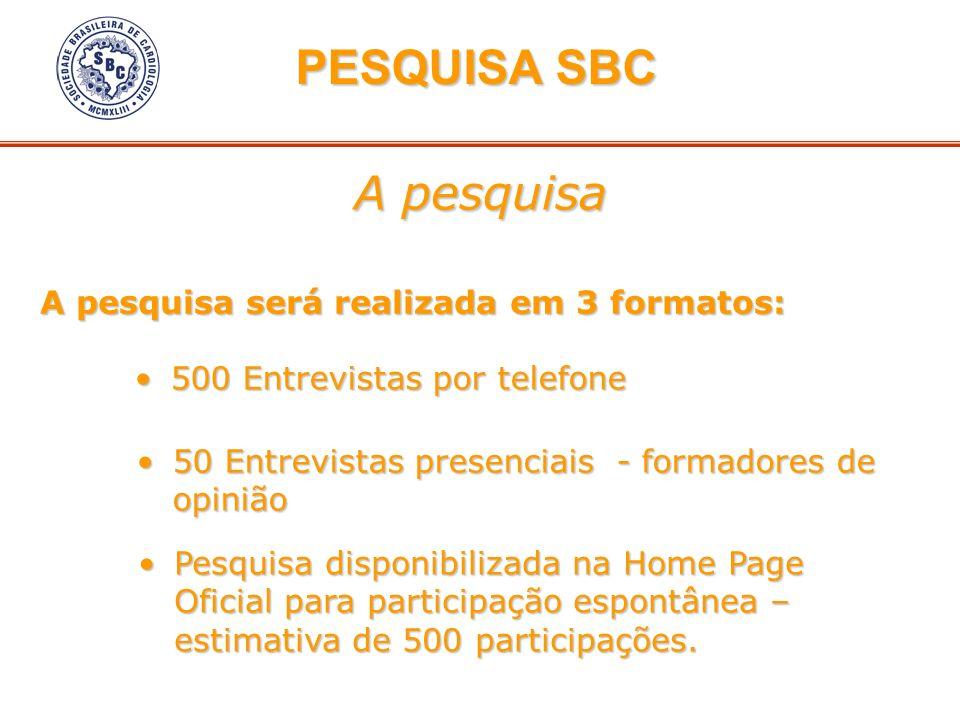 PESQUISA SBC A pesquisa A pesquisa será realizada em 3 formatos: