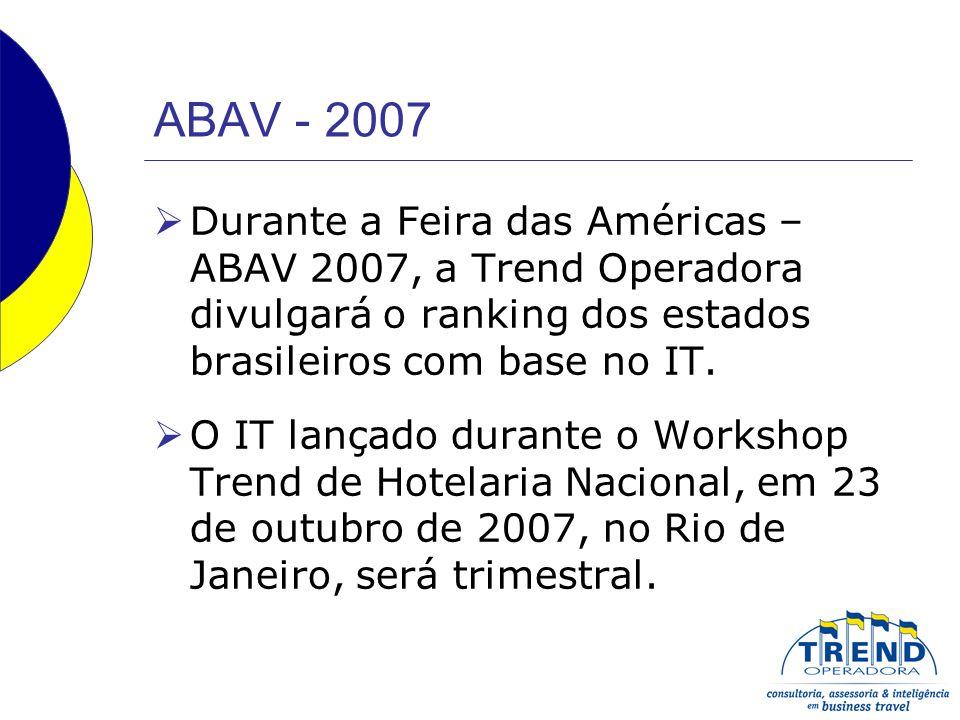 ABAV - 2007 Durante a Feira das Américas – ABAV 2007, a Trend Operadora divulgará o ranking dos estados brasileiros com base no IT.