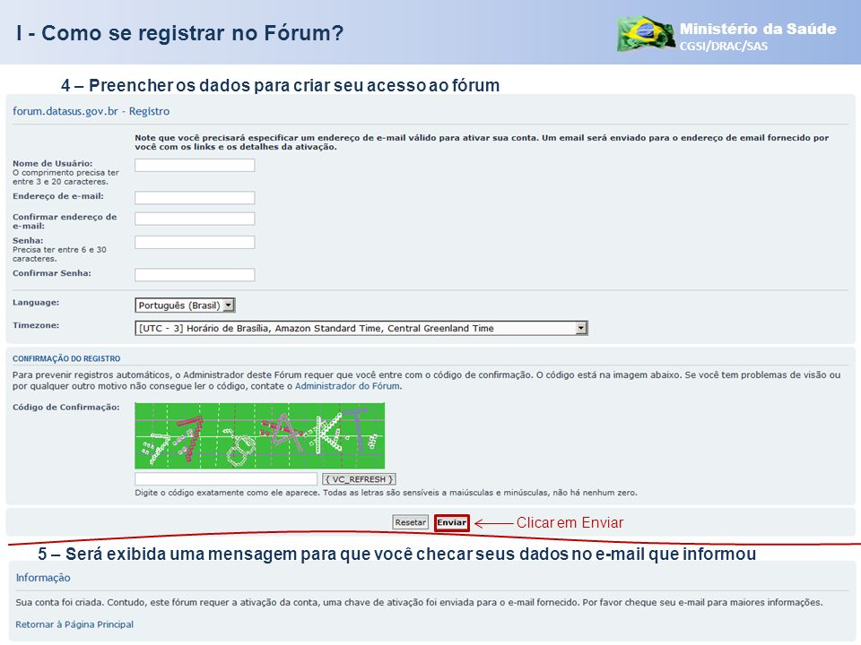 I - Como se registrar no Fórum
