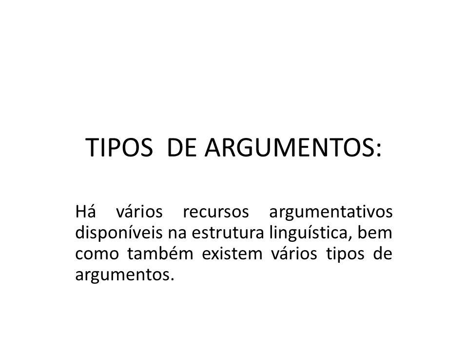TIPOS DE ARGUMENTOS: Há vários recursos argumentativos disponíveis na estrutura linguística, bem como também existem vários tipos de argumentos.