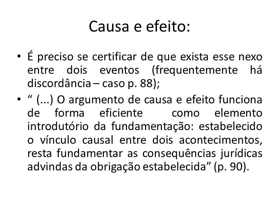 Causa e efeito: É preciso se certificar de que exista esse nexo entre dois eventos (frequentemente há discordância – caso p. 88);