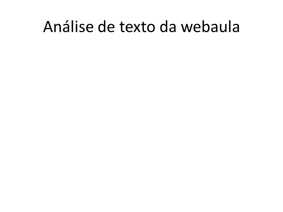 Análise de texto da webaula
