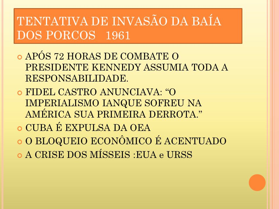 TENTATIVA DE INVASÃO DA BAÍA DOS PORCOS 1961