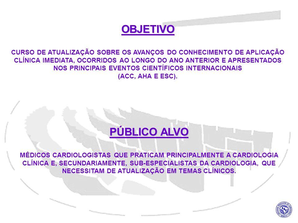 OBJETIVO CURSO DE ATUALIZAÇÃO SOBRE OS AVANÇOS DO CONHECIMENTO DE APLICAÇÃO CLÍNICA IMEDIATA, OCORRIDOS AO LONGO DO ANO ANTERIOR E APRESENTADOS NOS PRINCIPAIS EVENTOS CIENTÍFICOS INTERNACIONAIS (ACC, AHA E ESC).