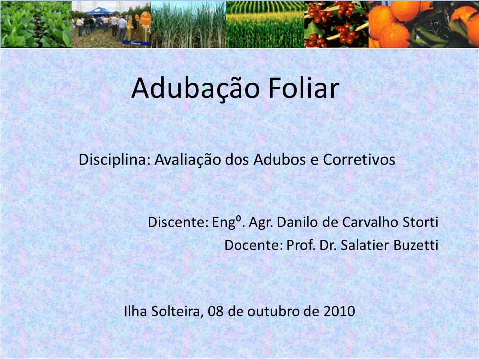 Adubação Foliar Disciplina: Avaliação dos Adubos e Corretivos