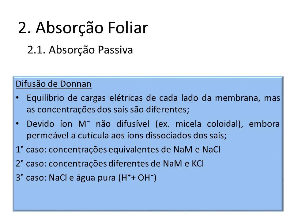 2. Absorção Foliar 2.1. Absorção Passiva Difusão de Donnan