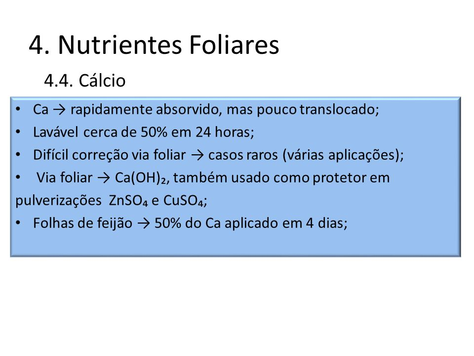 4. Nutrientes Foliares 4.4. Cálcio
