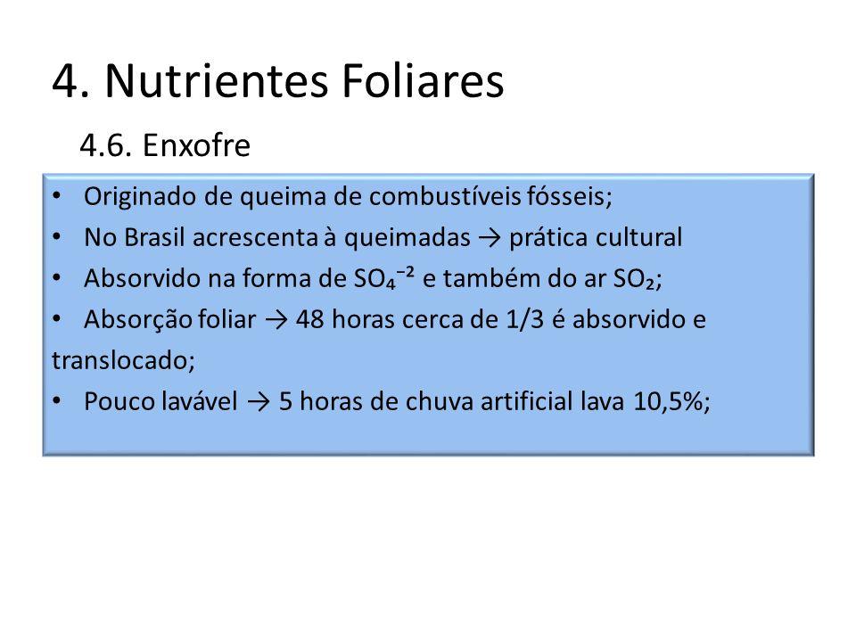 4. Nutrientes Foliares 4.6. Enxofre