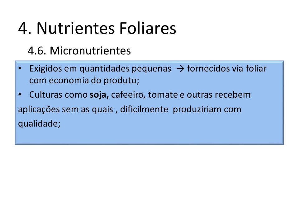 4. Nutrientes Foliares 4.6. Micronutrientes