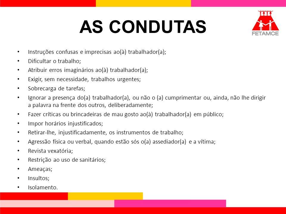 AS CONDUTAS Instruções confusas e imprecisas ao(à) trabalhador(a);