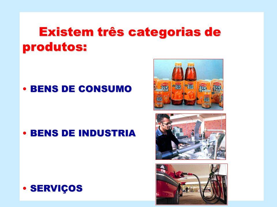 Existem três categorias de produtos: