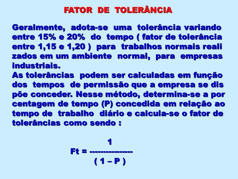 FATOR DE TOLERÂNCIA Geralmente, adota-se uma tolerância variando. entre 15% e 20% do tempo ( fator de tolerância.