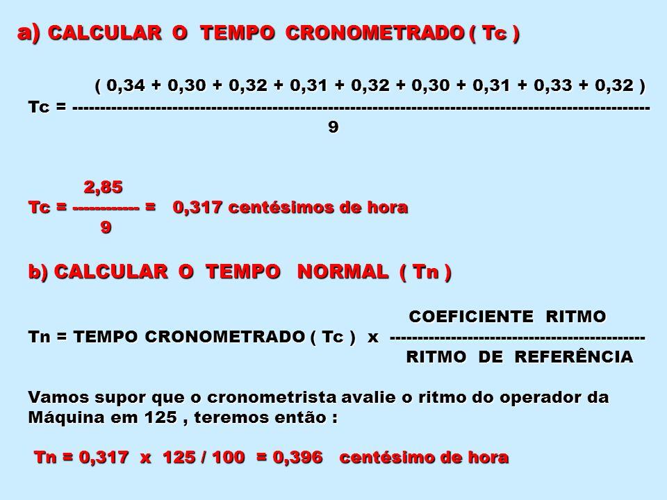 a) CALCULAR O TEMPO CRONOMETRADO ( Tc )