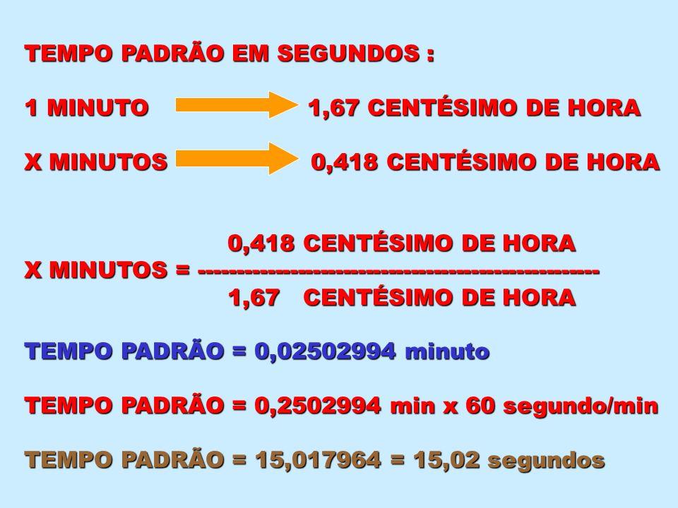 TEMPO PADRÃO EM SEGUNDOS :