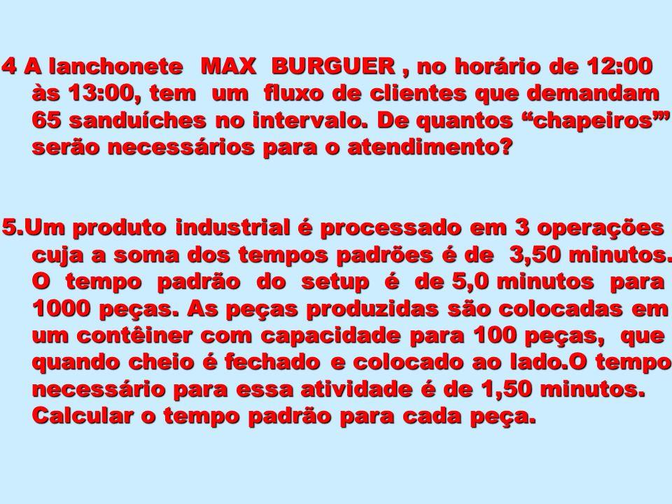 4 A lanchonete MAX BURGUER , no horário de 12:00